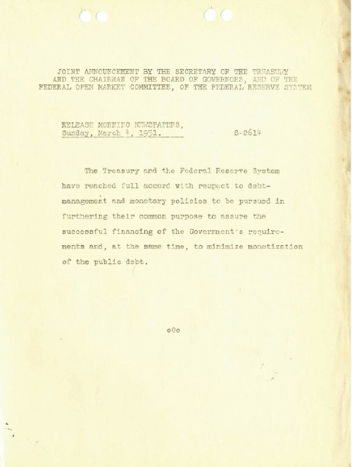 Treasury-Federal Reserve Accord of 1951