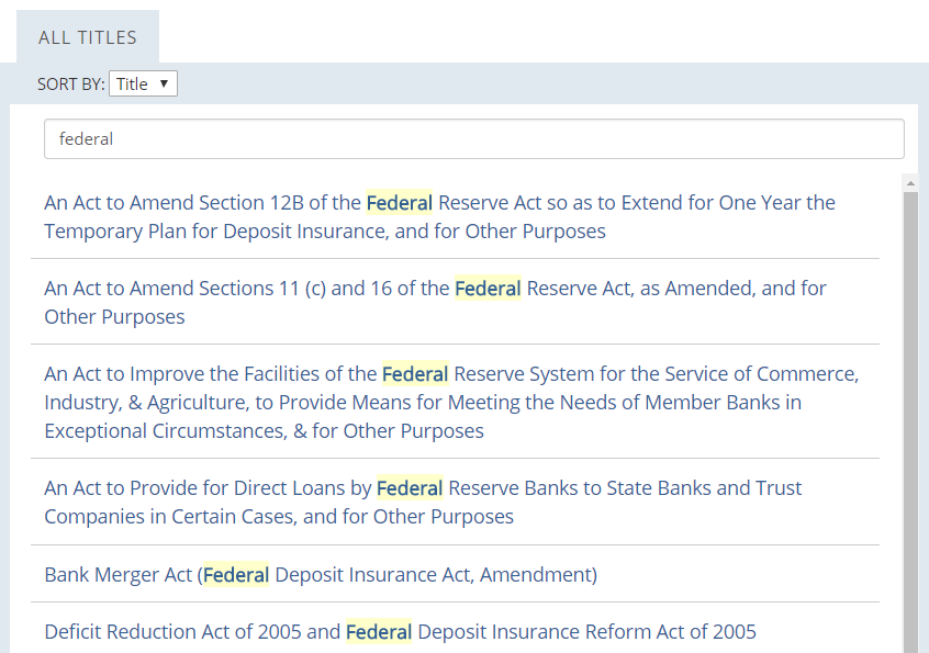 Finding Laws on FRASER: Filter by keywords or date